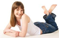 Woman Lying On Floor Stock Photography
