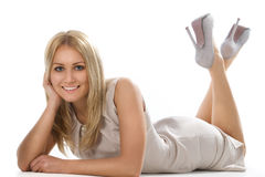 Woman Lying On Floor Stock Image