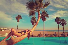 Woman lying on pool bent palm tree trunk. Beautiful bikini woman lying on bent palm tree trunk at resort pool on the beach Stock Photos