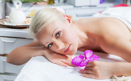 Woman lying relaxed in the spa salon Royalty Free Stock Image