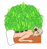 Woman lying for spa massage. Vector Illustration stock illustration