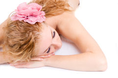 Woman lying on spa treatment Royalty Free Stock Images