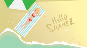 Woman Lying On Summer Beach Vacation Seaside Sand Tropical Holiday Banner Stock Photography