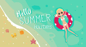 Woman Lying On Summer Beach Vacation Seaside Sand Tropical Holiday Banner. Flat Vector Illustration Royalty Free Stock Photos