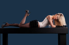 Woman lying on the table Stock Photos