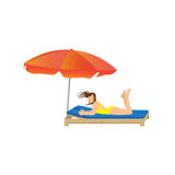 Woman lying under a beach umbrella. Royalty Free Stock Images