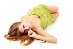 Woman lying on a white background Royalty Free Stock Photo
