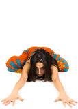 Woman lying on white background Stock Image