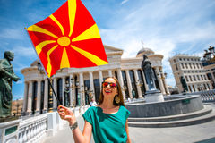 Woman with macedonian flag in Skopje city center Royalty Free Stock Images