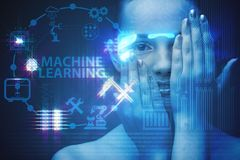 The woman in machine learning concept. Woman in machine learning concept Royalty Free Stock Photography