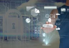 Woman in the machines room unblocking. Digital composite of Woman in the machines room unblocking Royalty Free Stock Images