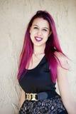 Woman With Magenta Hair Stock Photos