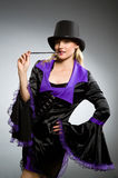 Woman magician doing her tricks Royalty Free Stock Images