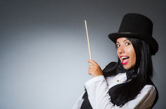 The woman magician in funny concept Stock Images