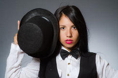 The woman magician in funny concept Royalty Free Stock Images