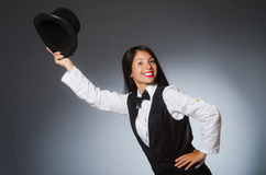 The woman magician in funny concept Royalty Free Stock Photo