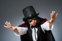 The woman magician in funny concept Royalty Free Stock Photography