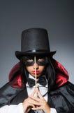 The woman magician in funny concept Stock Photos