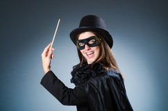 The woman magician in funny concept Royalty Free Stock Photos