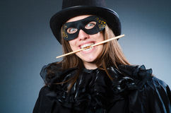 The woman magician in funny concept Stock Image