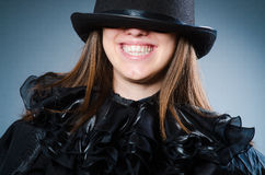 The woman magician in funny concept Stock Photo