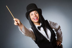 Woman magician in funny concept Stock Images