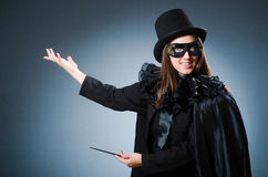 Woman magician in funny concept Royalty Free Stock Photography