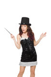 Woman magician isolated Royalty Free Stock Image