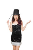 Woman magician isolated Royalty Free Stock Images