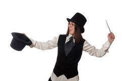 The woman magician isolated on the white Stock Photo