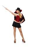 Woman magician with magic wand Stock Image
