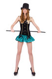 Woman magician with walking stick Royalty Free Stock Photos