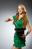 Woman magician wearing Royalty Free Stock Photo