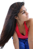 Woman with magnificent dark hair Stock Images