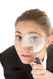 Woman and magnifier. Portrait of business woman  with magnifier in hand Stock Photo