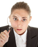 Woman and magnifier. Portrait of business woman  with magnifier in hand Stock Images