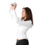 The woman with a magnifier Stock Images