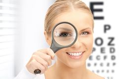 Woman with magnifier and eye chart Stock Photography