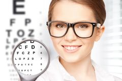 Woman with magnifier and eye chart. Medicine and vision concept - woman with magnifier and eye chart royalty free stock image