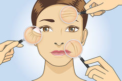 Woman magnifying wrinkle on face. A magnifier on hand magnifying the woman facial to finding wrinkle around her face area Stock Photo