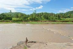 Woman at Maha Oya river, Sri Lanka. Asia stock image