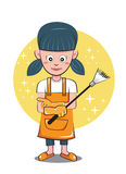 Woman maid cleaner duster female Stock Image