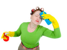 Woman maid cleaner with sponge and spray Royalty Free Stock Photo