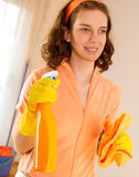Woman maid cleaner spray Royalty Free Stock Photos