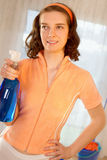 Woman maid cleaner spray Stock Photo