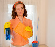 Woman maid cleaner spray Stock Photography