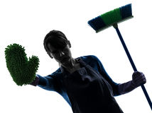 Woman maid housework brooming stop gesture silhouette royalty free stock photo