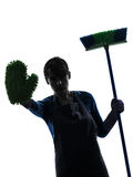 Woman maid housework brooming stop gesture silhouette Royalty Free Stock Photos