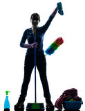 Woman maid housework cleaning products silhouette Royalty Free Stock Images