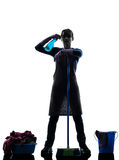 Woman maid housework despair overwork silhouette Royalty Free Stock Photography